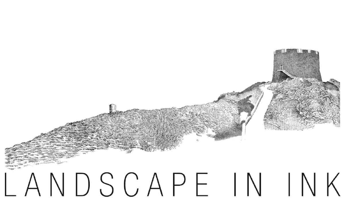 Disegno del paesaggio con inchiostro di china matita e for Fantastici disegni di garage